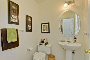 Traditional Powder Room with specialty door, Wall sconce, Standard height