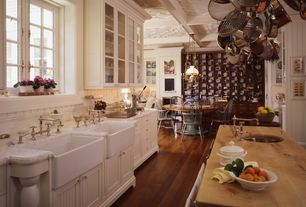 "Eclectic Kitchen with Farmhouse sink, Ceramic Tile, One-wall, Chandelier, Crosscut hardwoods maple countertop - 1/2"" thick."