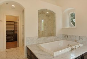 Traditional Master Bathroom with Arched window, MS International China Carrara Marble, frameless showerdoor, High ceiling