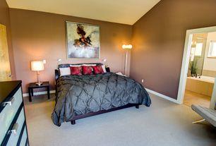 Contemporary Master Bedroom with Carpet, Standard height, flat door