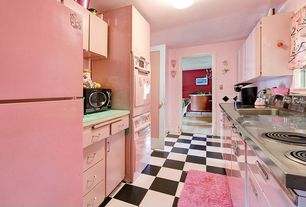 "Eclectic Kitchen with specialty door, Big chill 30"" wall oven in pink lemonade, U-shaped, Stainless steel counters, Flush"