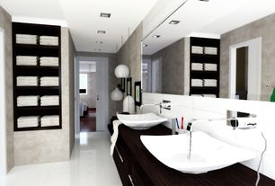 "Modern Master Bathroom with Wood counters, Tech Lighting Cleo 9 3/4"" Wide White Glass Pendant Light, Master on suite"