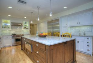 Traditional Kitchen with Minka lavery - 2244-77 1 light pendant in chrome with clear seeded glass, Kitchen island, Wall Hood