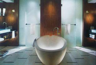 Modern Master Bathroom with Wood panel wall, Vessel sink, Freestanding, Master bathroom, Simple granite counters