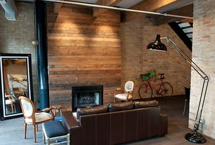 Rustic Living Room with Exposed ductwork, Exposed beam, Hardwood floors, Exposed pipes, Modloft - Norfolk Mirror