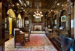 Contemporary Home Office with Built-in bookshelf, insert fireplace, Crown molding, Arched window, can lights, High ceiling