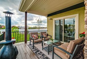 Traditional Deck with Deck Railing, outdoor pizza oven, Fence, sliding glass door