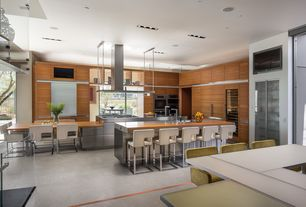 Modern Kitchen with European Cabinets, Kitchen island, Wood counters, Stainless steel counters, flush light, Breakfast bar