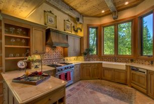Eclectic Kitchen with Flat panel cabinets, limestone tile floors, Inset cabinets, Farmhouse sink, Exposed beam, Custom hood