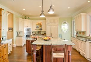 Traditional Kitchen with Crown molding, Restoration hardware harmon pendant, Raised panel, Breakfast bar, High ceiling, Flush