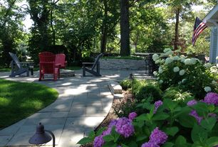 Landscape/Yard with Stone pathway, Deluxe red adirondack foldable chair, Stacked stone wall, Wrought iron patio furniture