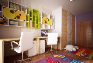 Eclectic Kids Bedroom with Built-in bookshelf, Hardwood floors, Pantera white leather and chrome low back desk chair