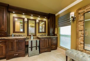 Craftsman Master Bathroom with Hudson valley bridgehampton polished nickel wall sconce, Roman shade, Crown moulding, Paint 1
