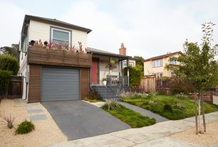 Modern Landscape/Yard with double-hung window, exterior concrete tile floors, Gate, exterior tile floors, Pathway, Fence
