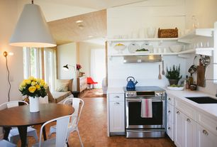 Contemporary Kitchen with L-shaped, Hickory Hardware Williamsburg 3 in. Cup Pull, Corian counters, Corian- Designer White