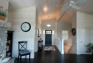 Craftsman Entryway with flush light, Loft, Laminate floors, Transom window, specialty door, Ceiling fan, Built-in bookshelf
