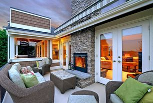 Contemporary Deck with exterior awning, French doors, exterior tile floors