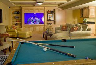 Traditional Game Room with Box ceiling, Aramith Super Pro Value Ball Pak, Carpet, flush light, Built-in bookshelf