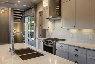 Contemporary Kitchen with French doors, Flush, picture window, Multiple Sinks, Subway Tile, Kitchen island, Pendant light