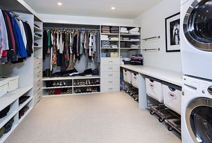 Modern Closet with Custom closet storage, Laminate floors, Steele divided canvas sorter