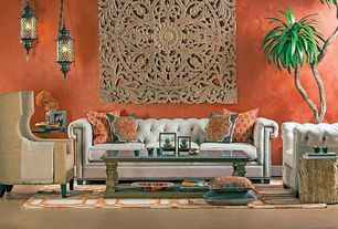 Eclectic Living Room with Standard height, Restoration Hardware Chesterfield sofa, Carpet, Pendant light, Paint