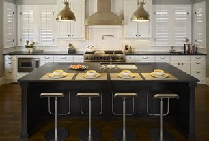 Contemporary Kitchen with Quartz countertop, Kitchen island, Raised panel, Pendant light, Azumi Studio LEM Piston Stool