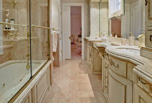 Traditional Master Bathroom with Ms International Cherry Blossom Marble Tile, specialty door, Undermount sink, Crown molding