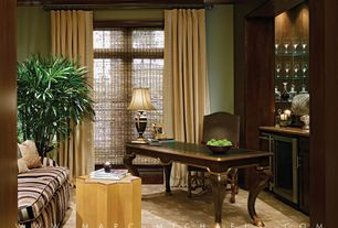 Traditional Home Office with Standard height, specialty window, Crown molding, Built-in bookshelf, Carpet