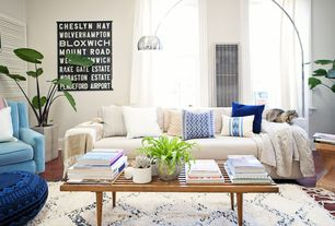 Modern Living Room with Paint, Side chair, Moroccan pouf, Upholstered sofa, Standard height, Sheer curtains, Throw blanket