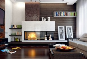 Contemporary Living Room with stone fireplace, Chandelier, Allan Copley Dado 54 x 30 Rectangular Espresso Coffee Table