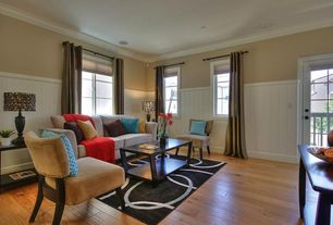 Contemporary Living Room with Wainscotting, Hardwood floors, Crown molding, French doors
