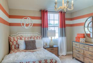 Traditional Kids Bedroom with Mural, Carpet, no bedroom feature, Chandelier, Standard height, double-hung window