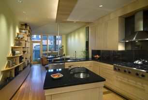 Modern Kitchen with Wall Hood, full backsplash, Undermount sink, L-shaped, Stone Tile, Standard height, Kitchen island, Flush