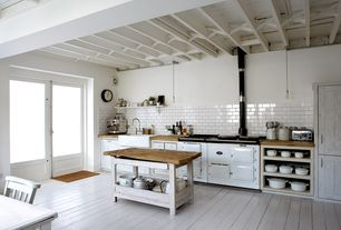 Country Kitchen with Flush, Pendant light, Wall Hood, Freestanding kitchen island - ikea stenstorp, Standard height, One-wall