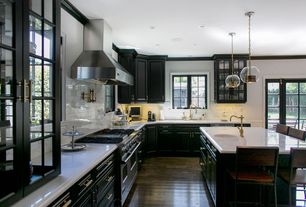 Traditional Kitchen with Breakfast bar, Paint 1, can lights, Pendant light, Glass panel, L-shaped, Framed Partial Panel