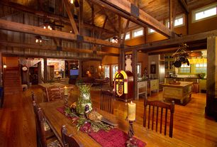 Country Great Room with Wood beams, Benchwright extending dining table, Crosley ipad jukebox, Wood floors