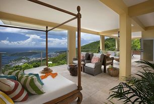 Tropical Porch with French doors, Deck Railing, Wrap around porch, exterior stone floors