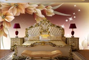 Traditional Master Bedroom with Fashion floral 3d glitter wallpaper, Hardwood floors, interior wallpaper, Chandelier