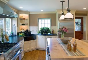 Country Kitchen with Subway tile backsplash, Restoration hardware - clemson classic single pendant - bronze, Crown molding