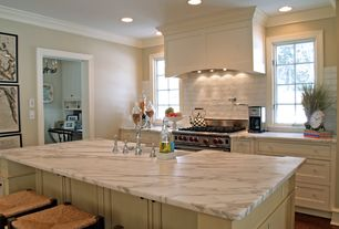 Traditional Kitchen with Round or Tall Apothecary Vases, Custom hood, Complex marble counters, Farmhouse sink, One-wall