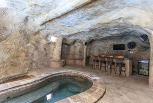 Rustic Swimming Pool with exterior stone floors, Indoor pool, Pool with hot tub