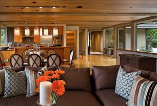 Contemporary Great Room with can lights, Pendant light, Laminate floors, French doors, Standard height, specialty window