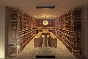 Asian Wine Cellar with Built-in bookshelf, Carpet, Pendant light, can lights, Standard height