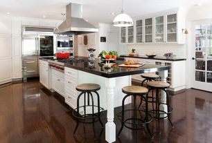 Contemporary Kitchen with Raised panel, Pendant light, Flush, Timbergirl industrial round reclaimed wood and iron stool