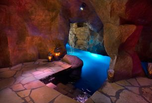 Rustic Swimming Pool with exterior stone floors, Indoor pool
