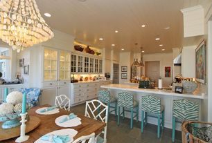 Cottage Kitchen with Built In Refrigerator, Raised panel, picture window, can lights, Breakfast nook, Breakfast bar, L-shaped