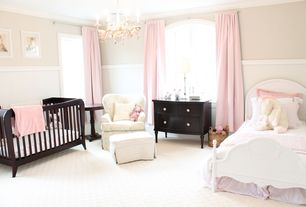 Traditional Kids Bedroom with Paint 1, Standard height, no bedroom feature, Arched window, Paint 2, Crown molding, Carpet