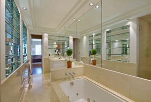 Contemporary Master Bathroom with Master bathroom, Simple marble counters, Undermount sink, Flush, Flat panel cabinets
