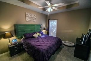 Eclectic Master Bedroom with Ceiling fan, Carpet