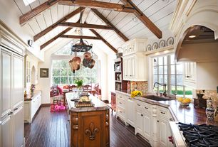 Country Kitchen with Kitchen island, Ceramic Tile, Wood ledge shelf, Complex granite counters, High ceiling, Exposed beam
